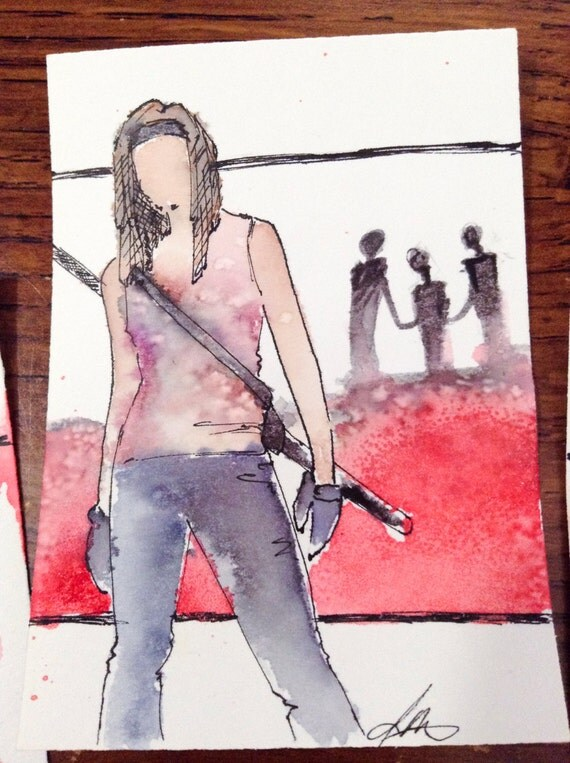 Michonne, Walking Dead original Fan Art Watercolor, Salt, and pencil on Bristol ACEO Artist Trading Card