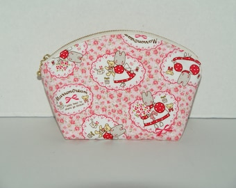 "Padded Round Top Pouch With Pocket / Shell Pouch/ Cosmetic Bag Made with Japanese Cotton Oxford Fabric ""Marron Cream"""