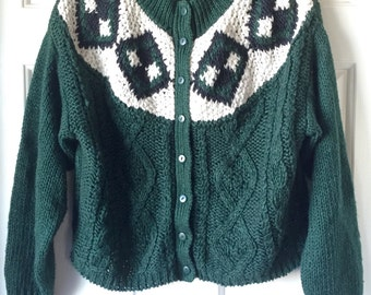 Vintage Ugly Christmas Sweater - Green Hand Knitted Medium Sweater
