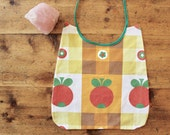 baby bib // fruity baby bib, upcycled cotton baby bib, vintage tablecloth baby bib