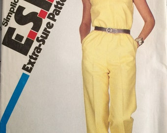 Simplicity 5825 Misses' Jumpsuit Pattern, Size 10-12-14, Extra-Sure Pattern, Fashion, One Piece Jumpsuit,Vintage 1982,Adjustable for Petites