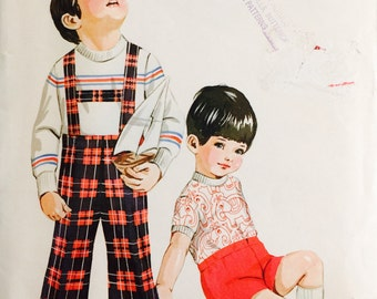 Kwik Sew 448, Size 1-2-3, Toddlers' Slacks and T shirt Pattern, UNCUT, Pants with Suspenders, Vintage, Cuffed Pants, Boys Pants