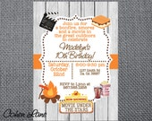 Printable Birthday Party Invitation. Camping invite.  Bonfire, Smores and Outdoor Movie Invitation. Printable Invitation. Fall Party Invite.