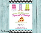 Printable Pajama and Pizza Party Invitation. Customized Sleepover Party Invite. Chevron Sleepover Invitation. Pizza Party Invitation.