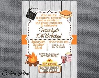 Printable Birthday Party Invitation. Camping invite.  Bonfire, Smores and Outdoor Movie Invitation. Printable Invitation. Fall Party Invite.