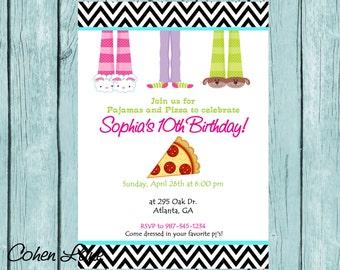 Printable Pajama and Pizza Party Invitation. Customized Sleepover Party Invite. Chevron Sleepover Invitation. Pizza Party Invitation.