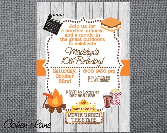 Printable birthday party invitation camping invite bonfire smores il570xn filmwisefo
