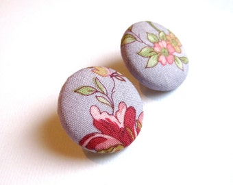 Large lavendender button earrings with floral pattern in pink, green and orange