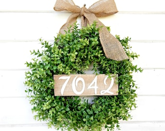 BOXWOOD Wreath-Door Sign-House Number-Fall Wreath-Winter Wreath-Holiday Gift-SCENTED Wreath-Faux Boxwood Wreath-Outdoor Wreath-Gift for Mom