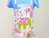 Child Pvc Apron -Colourful Elephants and Birds, Toddler Apron, Oilcloth Apron, Waterproof Apron