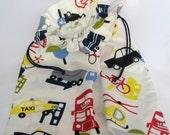 Hanging Laundry Bag - Cars, Trucks and Bicycles, Toy Bag, Storage Bag, Drawstring Fabric Bag
