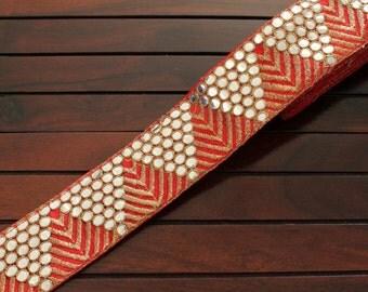 1 Yard Red Silk Trim-Embroidered Fabric Mirror Trim-Silk Sari Border Trim-Table Runner Art Quilt Fabric Trim-Silk Fabric Ribbon-India trim