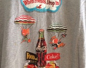 When Friends Drop In Food And Coke    Vintage Ringer Tee Tshirt Blue Striped Stripes Retro Coca Cola