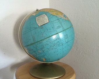 Vintage Rand McNally World Globe 1960s Political Map Metal Base