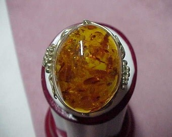 """Vintage Baltic Amber Solitaire Ring, 1""""x7/8"""",  Sterling Silver, 14.2 Gram, Size 7"""