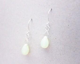 Neon Yellow Czech Glass Dangle Drop Teardrop Earrings TCJG