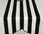Black and White Stripe Table Runner - black edge - DOVE TAIL - Select A Size