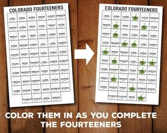 "Colorado Fourteener Checklist Art Printable-  11x17"" PDF to print and color"