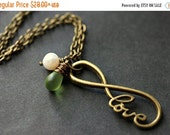 HALLOWEEN SALE Romantic Love Necklace. Infinity Necklace. Forever Love Eternity Necklace with Teardrop Charm and Fresh Water Pearl. Handmade