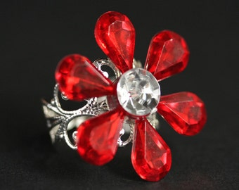 Red Flower Ring. Christmas Flower Ring. Holiday Ring. Red Christmas Ring. Holiday Jewelry. Red Ring. Adjustable Ring. Christmas Jewelry.