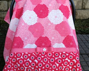 Car Seat Canopy for Girl.  Coral Red and White Floral Color.  Posy Flowers.  Trimmed in Coral Ribbon.