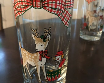 6 vintage reindeer Christmas drinking glass small 5 1/2 inch plaid trim