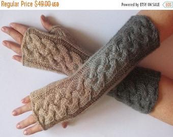 Fingerless Gloves White Gray Beige wrist warmers
