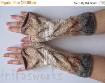 Fingerless Gloves Mittens Beige Brown Gray White wrist warmers Knit