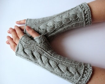 """Fingerless Gloves Long Gray 11"""" Mittens Arm Warmers, Acrylic"""