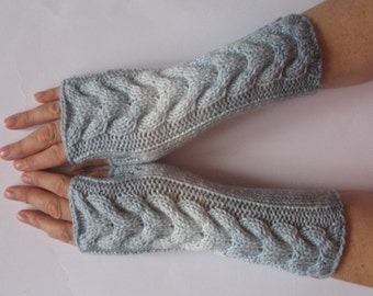 Fingerless Gloves Gray White Arm Warmers Knit Soft