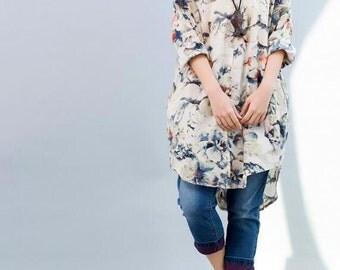 Women Cotton long Leisure large size Shirt