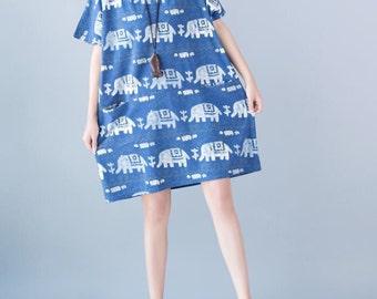 lovely summer blue dress cotton loose long shirt women gown
