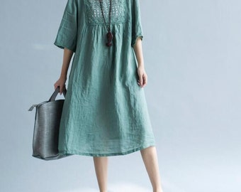 Loose Green dress brown dress cotton and linen summer doll dress