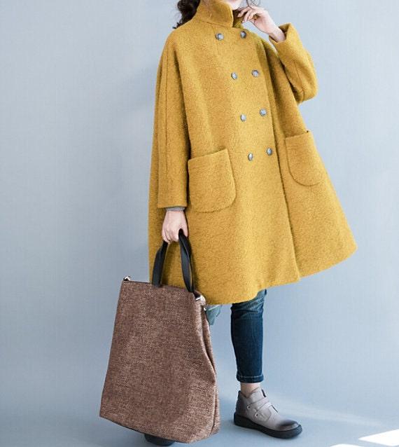 Women winter Clothing oversized loose double breasted wool coat yellow Overcoat gray Overcoat