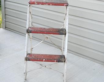 Vintage Metal Red/White Step Ladder Home or Porch Decor