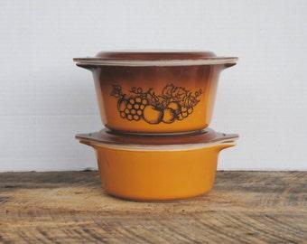 Vintage Pyrex Old Orchard Casserole Serving Dishes Set of 2