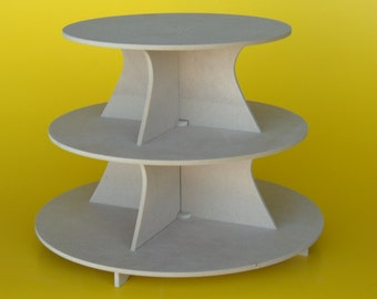 """Large Cupcake Stand 3 Tier Round 5"""" BTW MDF or PVC  12, 14, 16"""" Plates"""