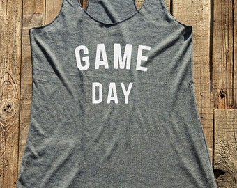 Fitness workout gym tank top - Game Day - workout tank top - choose colors - Soft Tri-Blend Racerback Tank