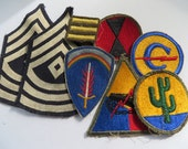 US Army WW2 Patch lot 1st Sgt Summer Weight Patches, 7th Inf, Armored And More