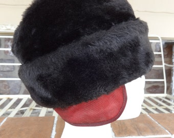 vintage men's winter hat faux fur fedora 1950-60's brown early millinery accessories