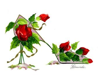 NEW - Cottage Chic Rosebud Flower Shoe - Signed, Enhanced with Paint, FREE SHIPPING - Customize
