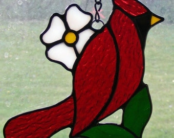 Stained Glass Cardinal with White Flower