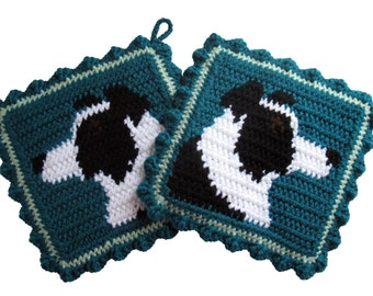 Border Collie Pot Holders. Teal, crochet potholders with Border collie dogs. Dog decor