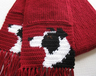 Knitting Pattern For Border Collie : Jack Russell Terrier Scarf. Grey knit and crochet scarf with