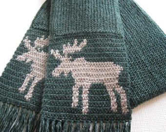 Moose Scarf. Green crochet scarf with bull moose silhouettes. Knit moose scarves. Dark heather green