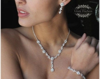bridal jewelry set, Bridal necklace earrings, Wedding jewelry, bridal bracelet, bridesmaid jewelry, Bridal backdrop necklace ,pearl jewelry