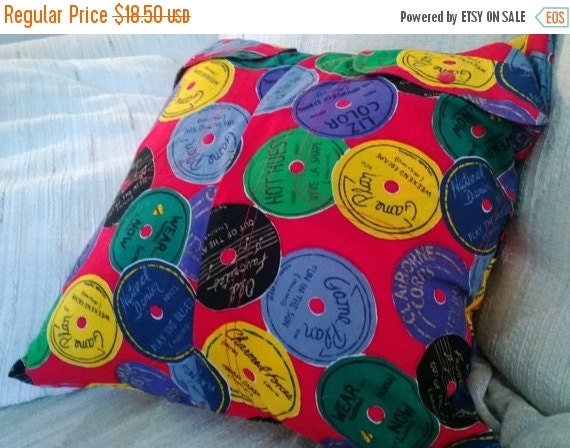 Sale Bright Multi Color Shirt Pillow Cover Upcycled 16 X 16 Music CDs