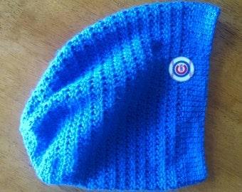 Crocheted Chicago Cubs Slouchy Hat