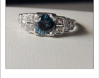 Antique Art Deco Platinum Zircon Tiered Diamond Engagement Ring