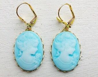 Cameo Earrings/Light Blue Earrings/Blue Cameo Earrings/Turquoise Earrings/Aqua Blue Earrings/Gifts For Her/Bow Earrings/Mother's Day Gift